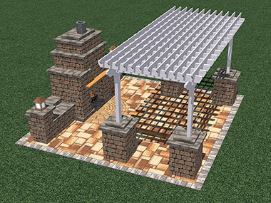 Fireplace with Pergola