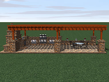Patio with Pergola and Fireplace